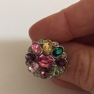 Sterling silver multi gemstone cocktail ring